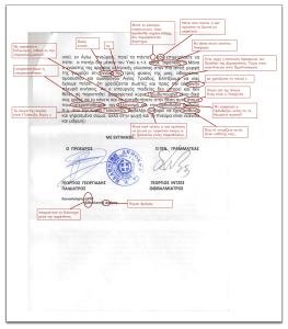 Λάθη και διορθώσεις στη 2η σελίδα της επιστολής του ΙΣΔ.